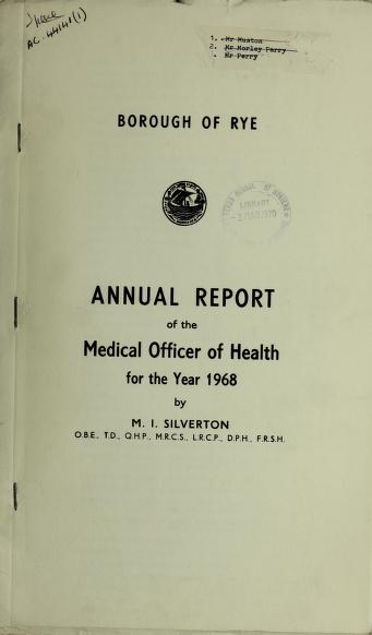 [Report 1968] by Rye (England). Borough Council
